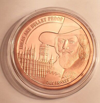 "2016 UK 1 OZ ""GUY FAWKS"" 999.0 Pure Copper Bullion Coin/token in Ac/Capsule"