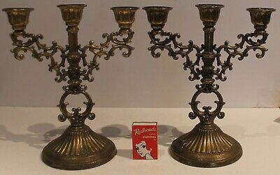 Brass Ornate Candlesticks 3 Sconce Pair Solid Candle Holders 22cm high Vintage