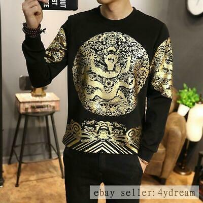 Men Chinese Gold Dragon Printing Vintage T-Shirts Long Sleeve Casual Tops M-5XL