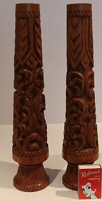 Wooden Carved Candlesticks Pair Solid Candle Holders Ethnic 31cm high Vintage *