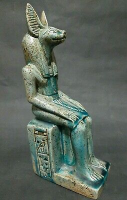 EGYPTIAN ANTIQUES GOD Anubis Jackal Head Dog Blue Glazed Statue 2629-2119 BC
