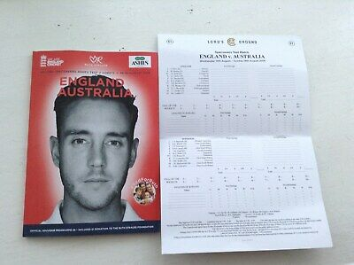 Match Programme of the England v Australia 2nd Test Cricket Match at Lords 2019