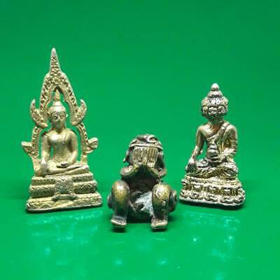 3 Various Models Buddha Statue Old Thai Amulet Magic Talisman Luck Charm Protect