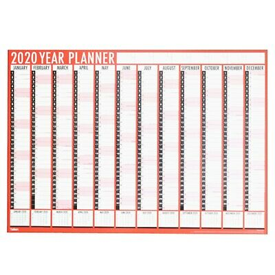 Large Wall Planner / Calendar - Year View - 84cm x 60cm - 2020 - Red