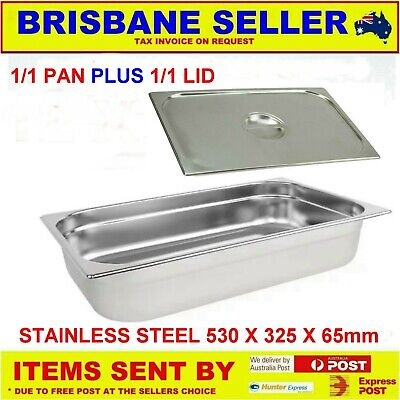 1/1 Gn Pans Bain Marie Stainless Steel 65Mm With Lid  ** See Delivery Area First