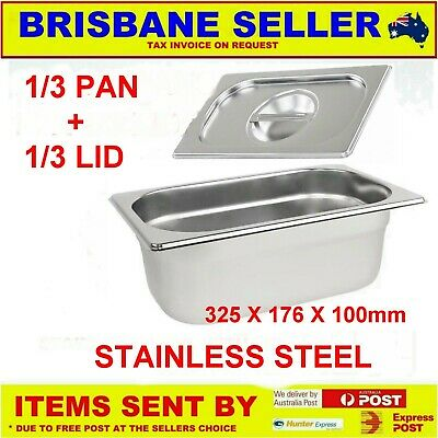 1/3 Gn Pans Bain Marie Stainless Steel 100Mm With Lid ** See Delivery Area First