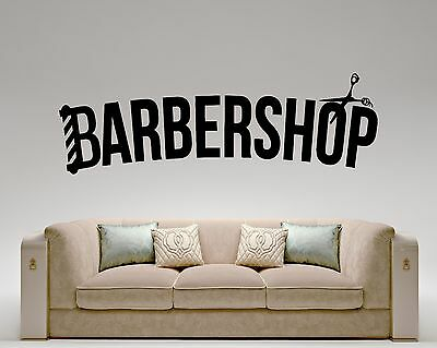 Barbershop Logo Wall Decal Hair Salon Barber Vinyl Sticker Art Decor Mural (21l)