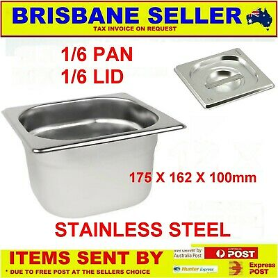 1/6 Gn Pans Bain Marie Stainless Steel 100Mm With Lid ** See Delivery Area First