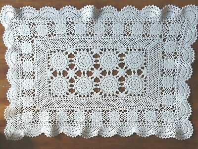 Large Vintage Crisp White Hand Rectangular Crochet Doily Table Center
