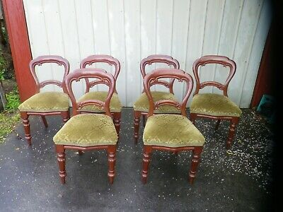6 x Antique Balloon Back Dining Chairs c.1880's