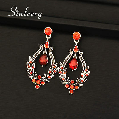 Vintage Sexy Red Hollow Crystal Drop Dangle Earrings Antique Silver Plated Party