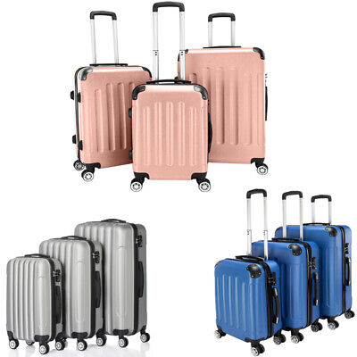 Set Of 3 Lightweight Hard Shell wheel Spinner Luggage Suitcases Trolley Case PVC