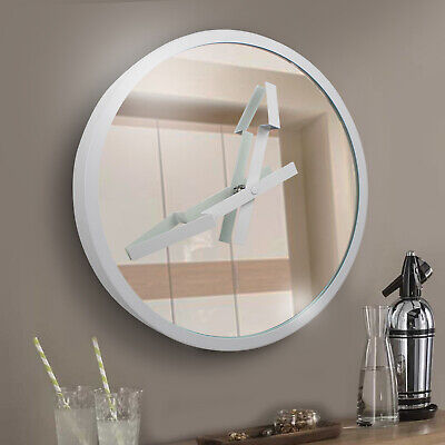 Large 3D Wall Mounted Arrow Glass Mirror Clock White Home Kitchen Office Modern