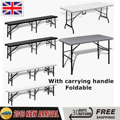 Camping Heavy Duty Dining Folding Table Trestle Bench Patio Outdoor Picnic BBQ