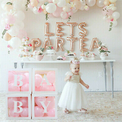 4Pcs Boy Girl Baby Shower Party Decorations Transparent Cardboard Box Xmas Gifts