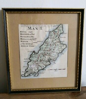 Original 1695 Map of Isle of Man by Robert Morden, Hand Coloured, 13.5cm x 12cm