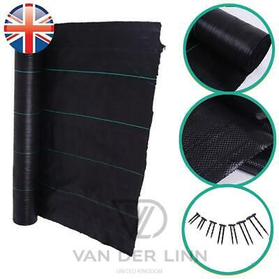 *UK Seller* 1M Wide Weed Control Fabric 100gsm Membrane Garden Landscape + Pegs