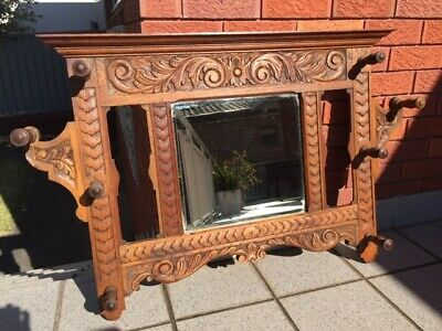 Hall Mirror carved oak