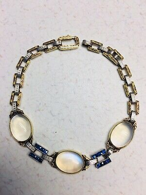 Antique Edwardian Victorian yellow AND white Gold Moonstone & Sapphire Bracelet