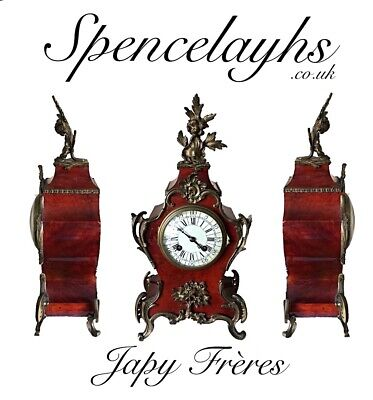 19th Century French Japy Frères Tortoiseshell Veneered Mantel Clock