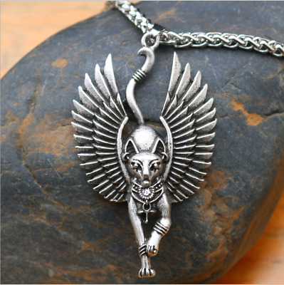 Ancient Egyptian Bastet Statue Cat Necklace Egyptian Sphinx Black Cat Pendant