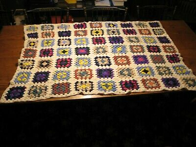 """Vtg Granny Square Afghan Throw Hand Crocheted 60""""x42"""" Multicolor Colorful White"""
