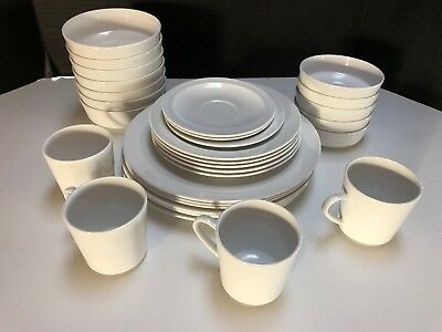 31pc Mid-century Centura White Coupe By Corning Set Dishes Cups Bowls Plain