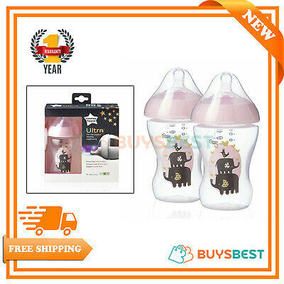2x Tommee Tippee Ultra Feeding Bottles 260ml/9floz In Pink, Age 0m+ BPA Free