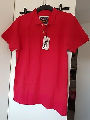 NEW Mens Charles Wilson Red Polo Top Size M 100% Cotton