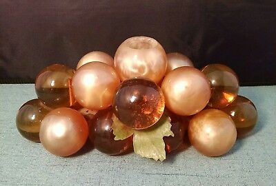 1960's Vintage Grape Cluster Glass/Acrylic Lg  Amber and Light Gold Holds Candle