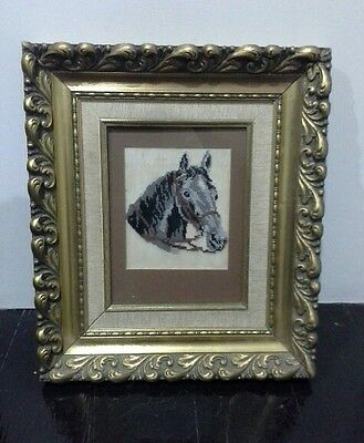 Vintage European Silk Hand Embroidered Tapestry Horse Head Gold Leaf Framed 1960