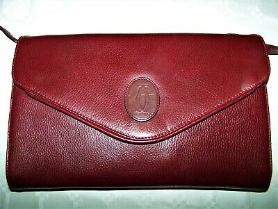 "Borsa ""Cartier"" Luxury Vintage Burgundy Bag 100% Made In Italy"