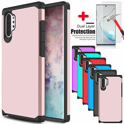For Samsung Galaxy Note 10+ Plus 5G Armor Slim Case Cover With Screen Protector