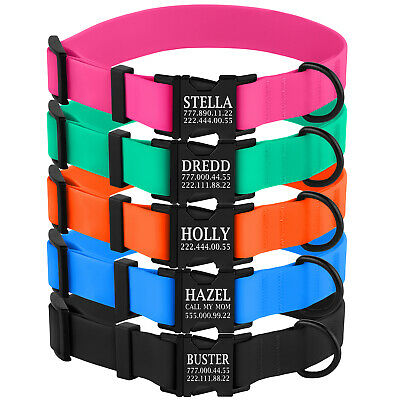 Personalised Dog Collar Waterproof Pet Collars PVC Puppy Small Medium Large Dogs