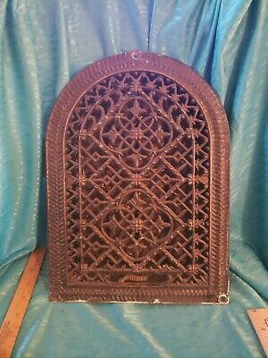 Antique Cast Iron Heat Grate Register Ornate Gothic Design Louvers Arch Pat.1882