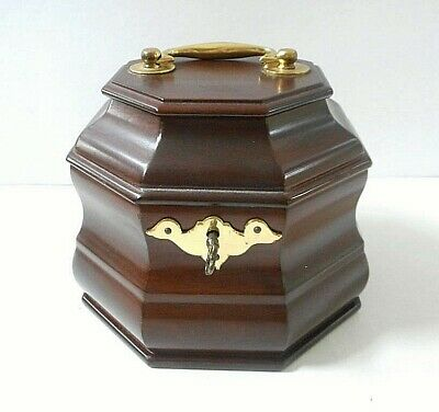 Williamsburg Antique Reproduction Tea Caddy with Key Mahogany Wood & Brass