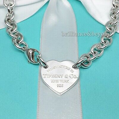 Return to Tiffany & Co. Heart Tag Necklace Choker 925 Sterling Silver Authentic