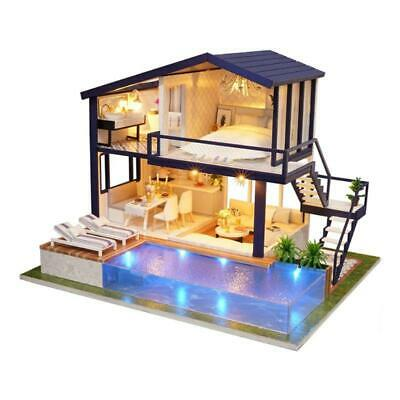 Wooden Dolls house DIY 3D Wooden Mini Apartment Doll House Furniture & Pool New