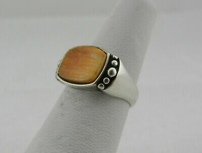 WJ Waldeck Johnson Signed Sterling Silver Spiny Oyster Shell Ring - Size 6.25