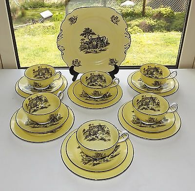 Antique Bat Printed 19 Pc Teaset Cups Saucers Plates  Classical Scene on Yellow