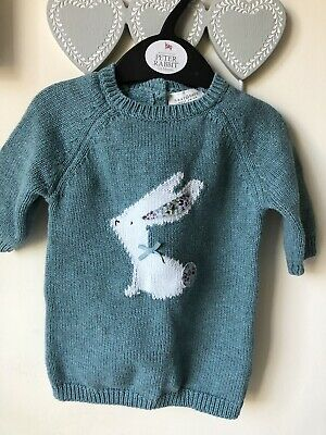 Next baby teal green girl bunny rabbit jumper knit dress in 0-3 months