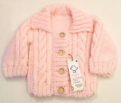 Kiddashery Girls Pink 3-6 Mths Baby Aran Jacket Hand Knitted Coat