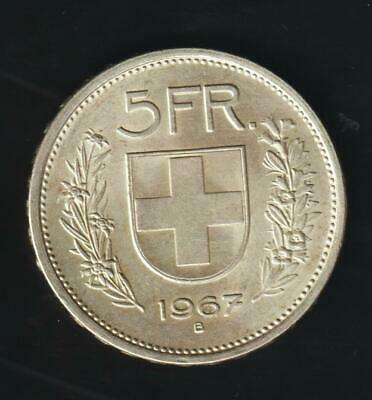 Switzerland 5 Francs 1967 B, Silver Very Nice. Condition