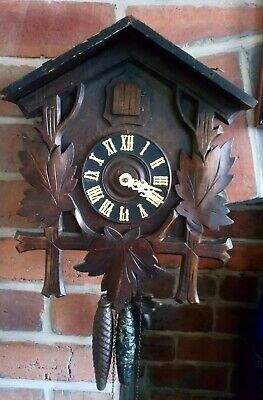 "Antique 30hr 14"" tall Black Forest Cuckoo Clock - working(see YouTube video)"