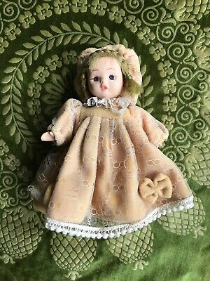 Antique All Bisque Miniature Jointed Girl Doll Beautiful Rare