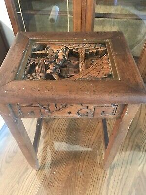 Vintage Antique Small Chinese Carved Wooden Flower Pot Table  With 3 D Carved