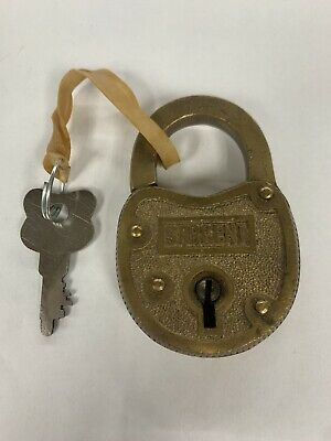 Vintage Solid Brass SARGENT Padlock - With Key! - Very Cool!