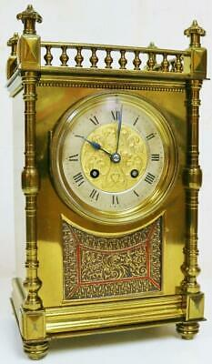 Antique 19thC French 8 Day Bronze mantel Clock Architectural Designed Cube Clock