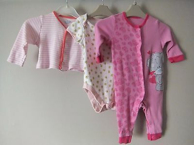 Baby Girls Pink & White 3 Piece tatty teddy 3-6 Month Bundle By George M&S