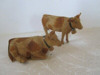 Antique Miniature Hand Carved & Painted Folk Art Wood Cows